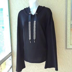 Black hoodie pearl ties